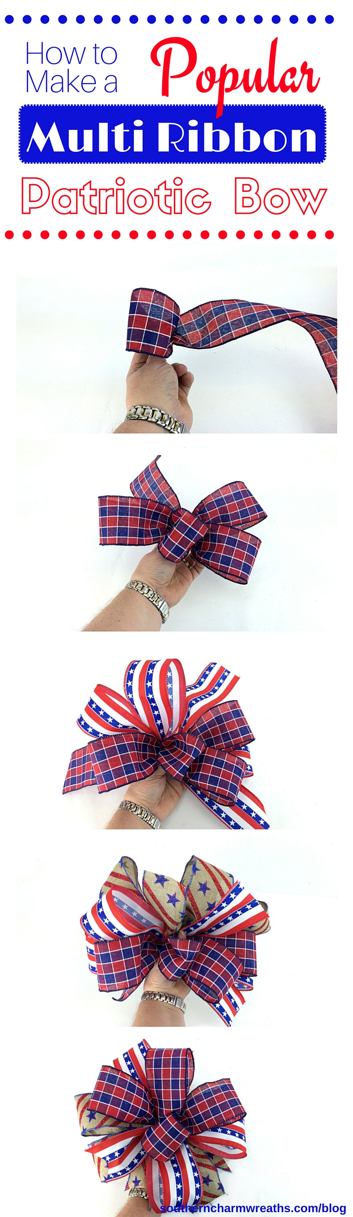 4th of July Decoratons - How to Make a Bow for a Wreath - Patriotic Bow -Step by Step How to Make a Bow