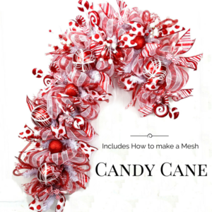 Learn how to make a deco mesh candy cane wreath.