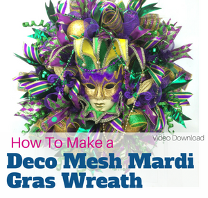 How to Make a Deco Mesh Mardi Gras Wreath