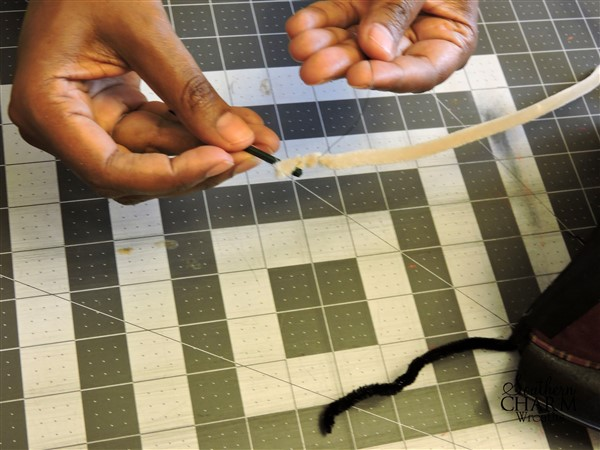 How to attach character embellishments to wreaths.