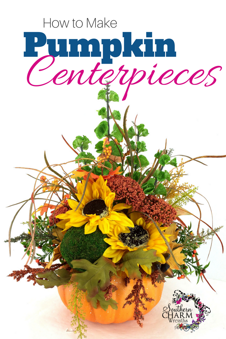 In this video how to make pumpkin centerpieces using foam pumpkin, silk flowers, moss covered ball, pine cones and leaves by www.southerncharmwreaths.com/blog