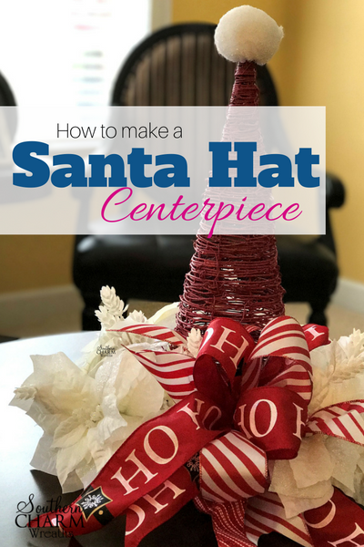 How to make a Santa Hat Centerpiece from a grapevine cone by Southern Charm Wreaths