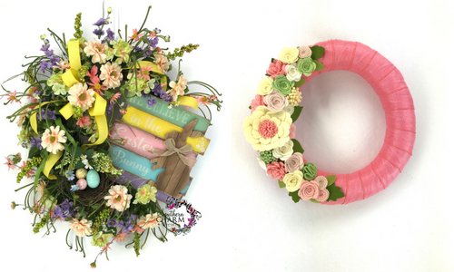 Learn how to make Easter and spring wreaths in my Wreath Making of the Month Club.