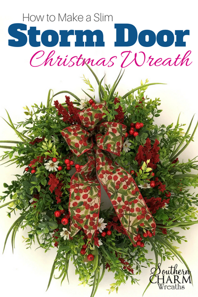 How to use a premade boxwood wreath and make a slim wreath to fit behind a storm door.