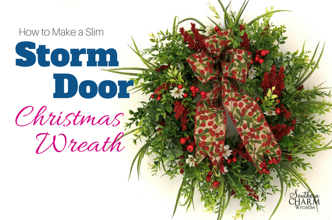 Wow, who knew to make an elegent storm door Christmas wreath you start with a premade evergreen base and just add flowers!
