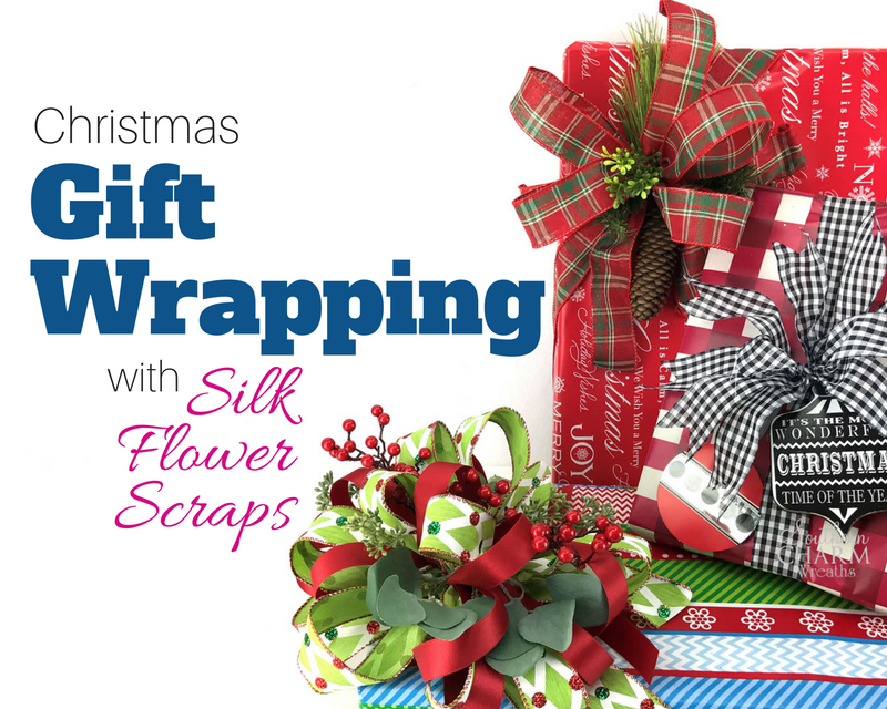 Christmas Gift Wrapping with Silk Flower Scraps by Southern Charm Wreaths