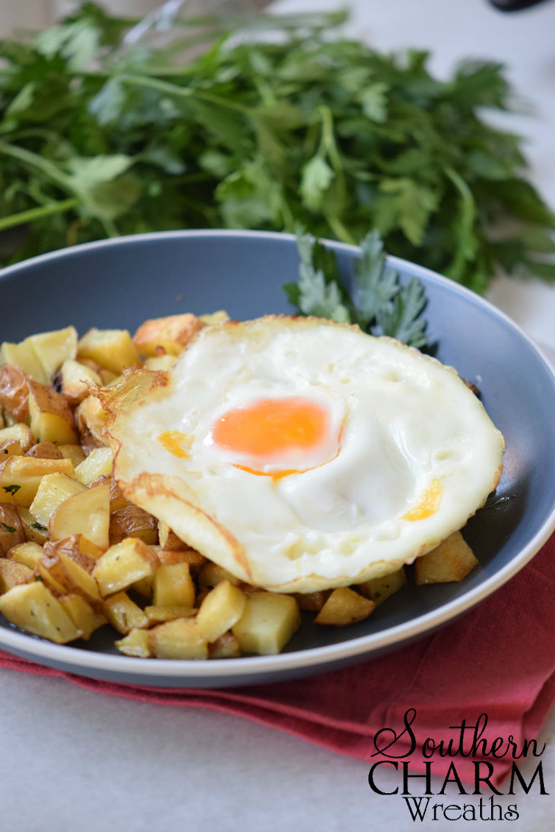 Potato Casserole Recipe for Sunday Brunch with fried eggs.