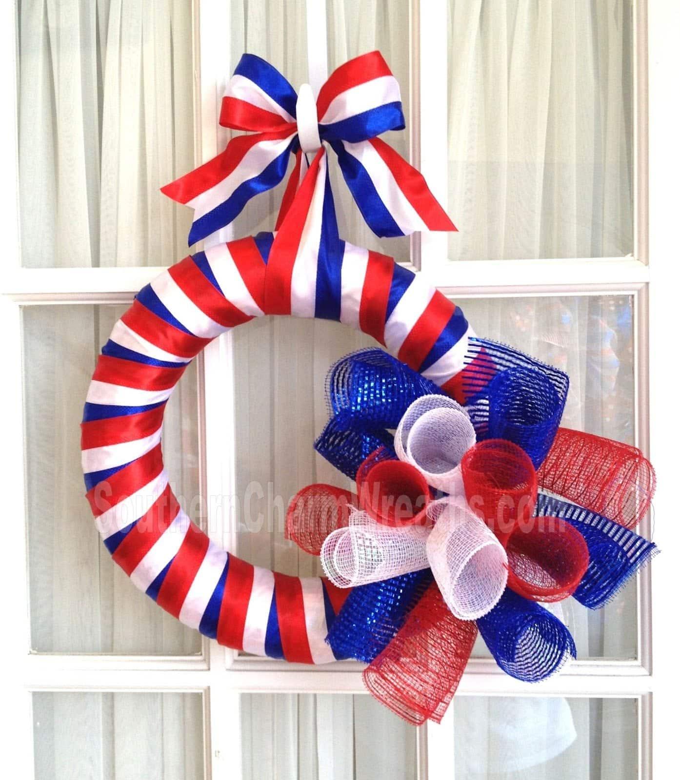 Simple Deco Mesh Memorial Day Wreath