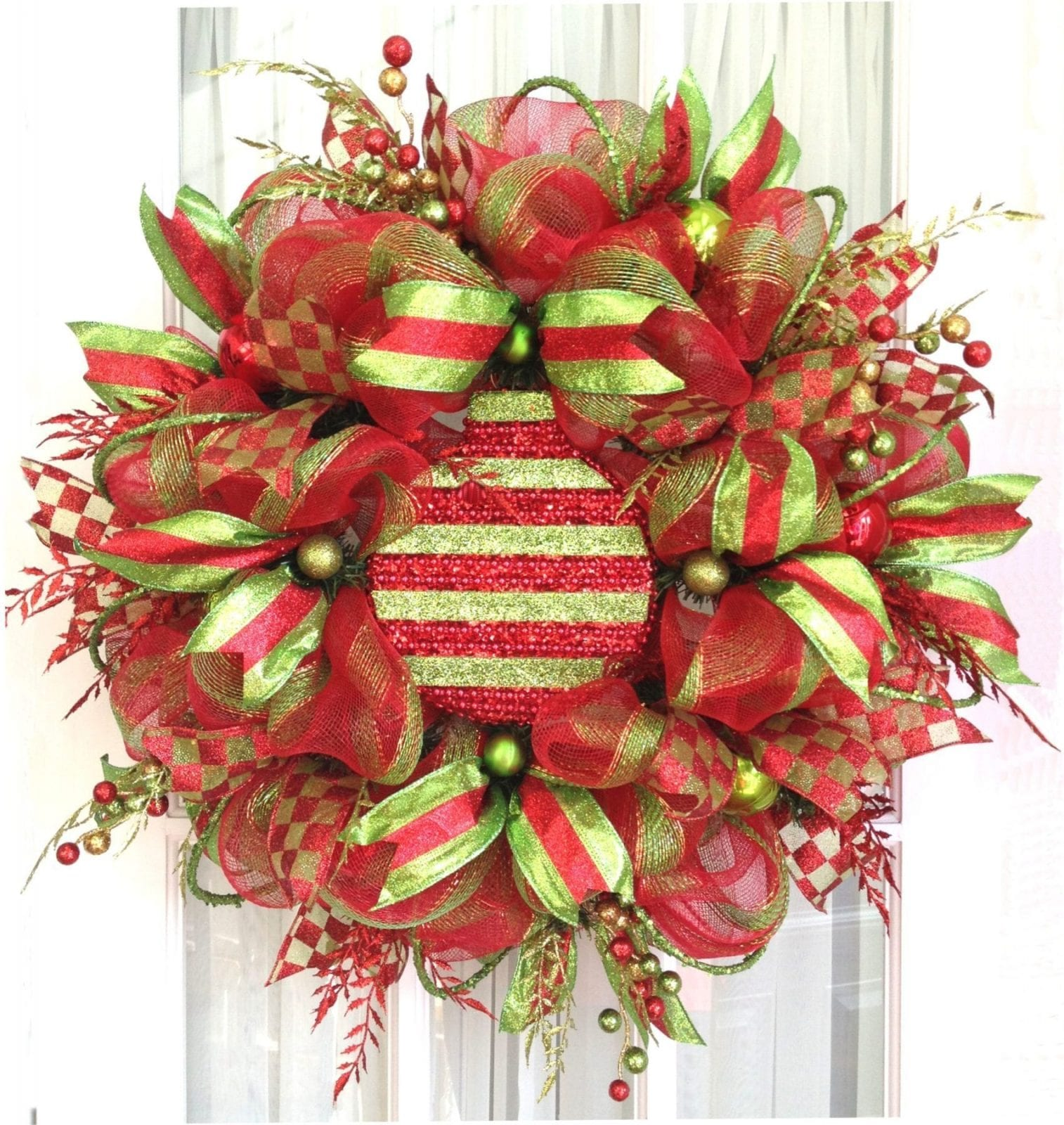 deco_mesh_wreath_holiday_ornament_red_lime | Southern ...