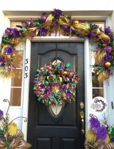 SouthernCharmWreaths.com shows you how to decorate your door for Mardi Gras.