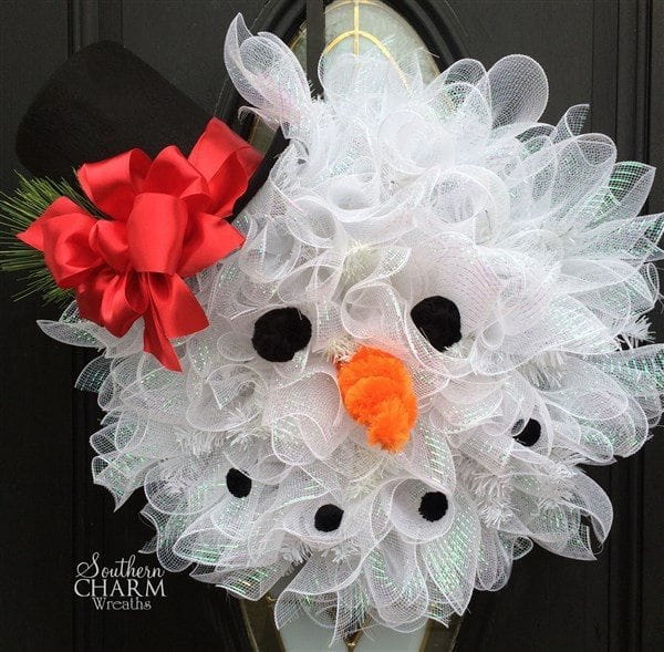 How to Make A Deco Mesh Snowman Wreath -Step 8
