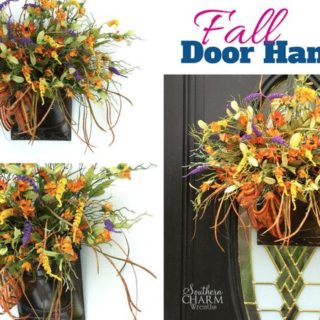 How to make a fall door hanger using a large fall bush by www.southerncharmwreaths.com/blog