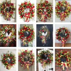 How to make a silk flower rooster door wreath.
