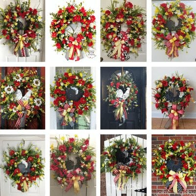 How to make a silk flower rooster door wreath.