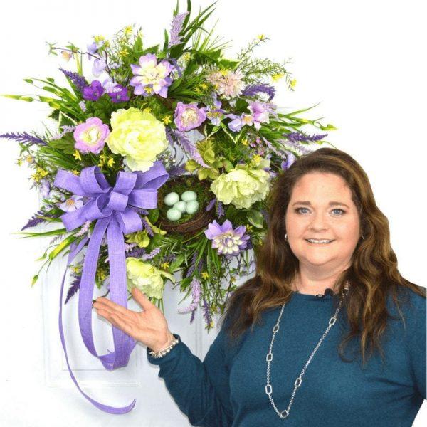 How to make a designer Silk Flower Spring Wreath for your Door