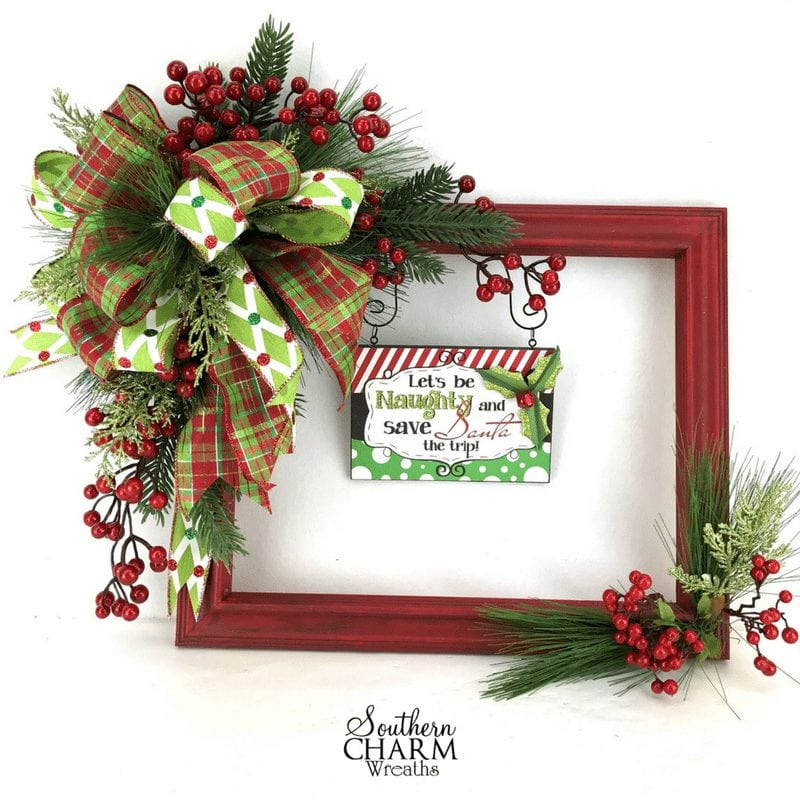 How to make a christmas picture frame wreath southern Christmas wreaths to make