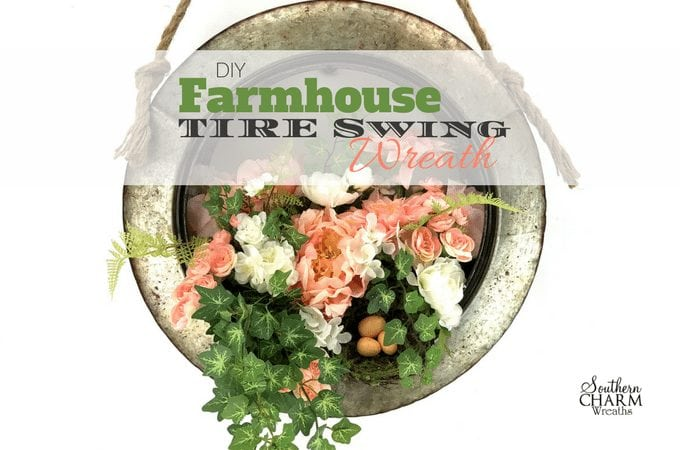 DIY Farmhouse Tire Swing Wreath