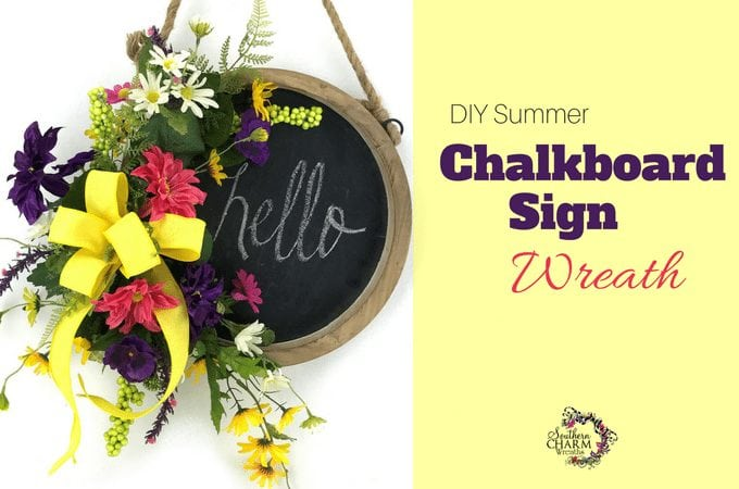 DIY Chalkboard Sign Wreath for Summer - Use a chalkboard sign and turn it into a wreath by Southern Charm Wreaths