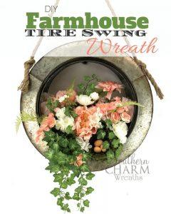 DIY Farmhouse Tire Swing Spring Wreath by Southern Charm Wreaths
