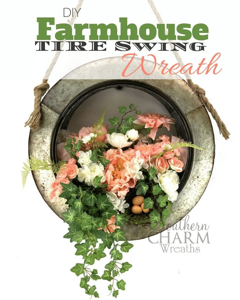 DIY Farmhouse Tire Swing Spring Wreath by Southern Charm Wreaths
