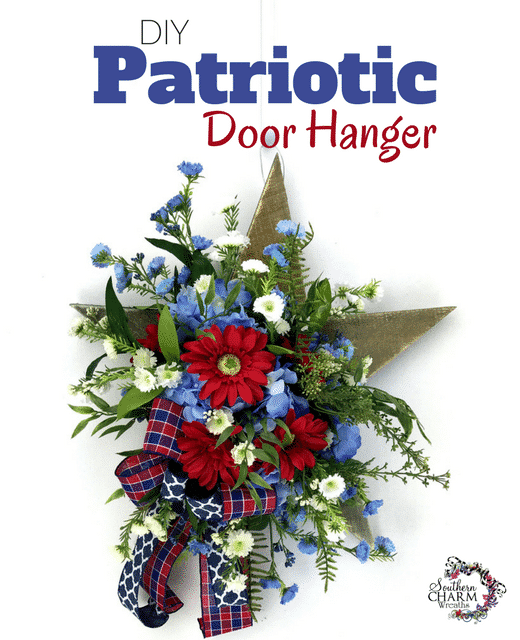 DIY Patriotic Door Hanger with Wooden Star and Silk Flowers