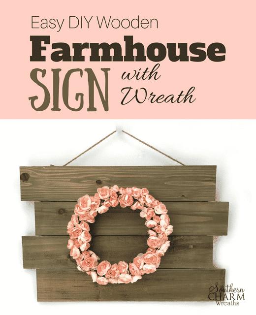 46 Best Farmhouse Home Decor Ideas You Will Totally Love: Easy DIY Wooden Farmhouse Sign With Wreath-blog-post