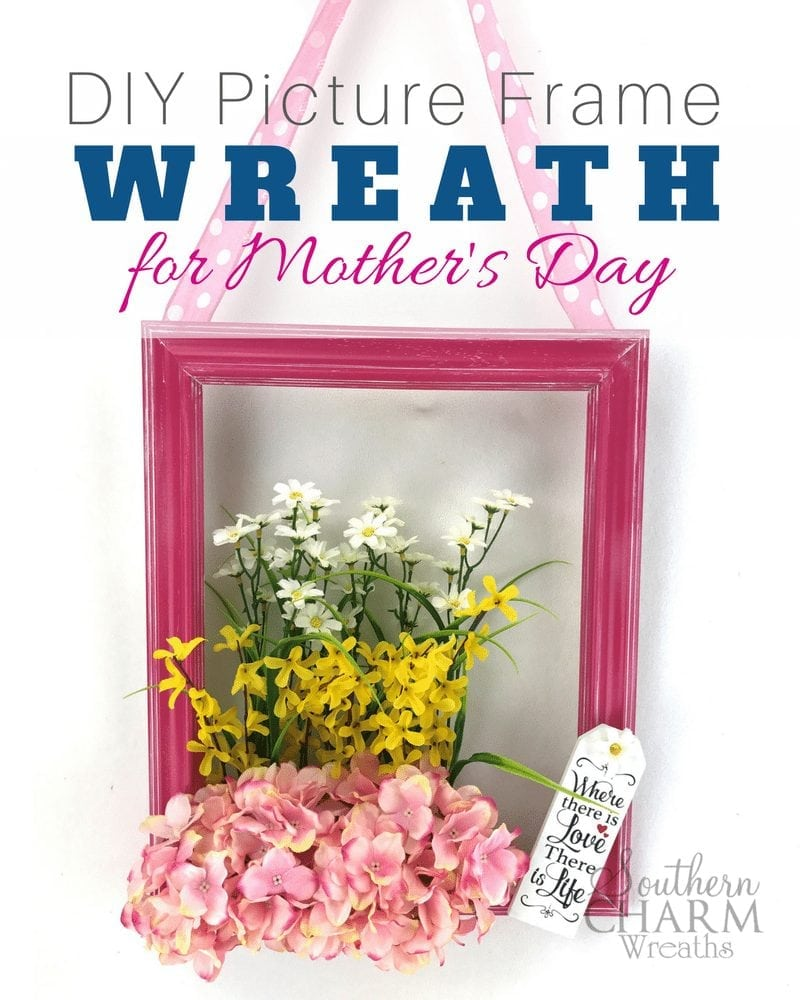 DIY Picture Frame Wreath for Mother's Day