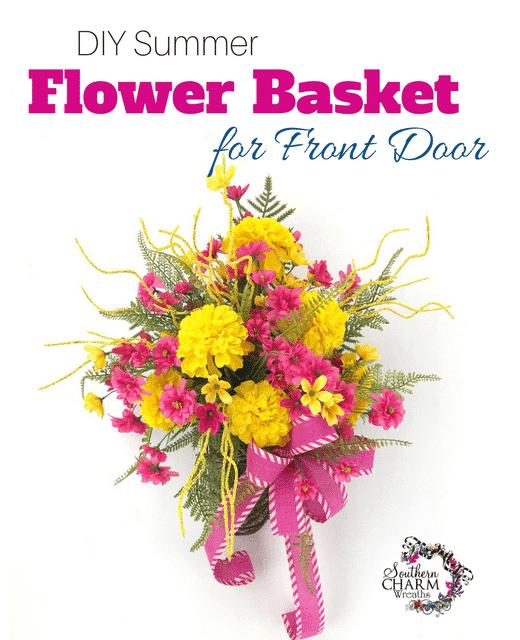 DIY Summer Flower Basket for Front Door