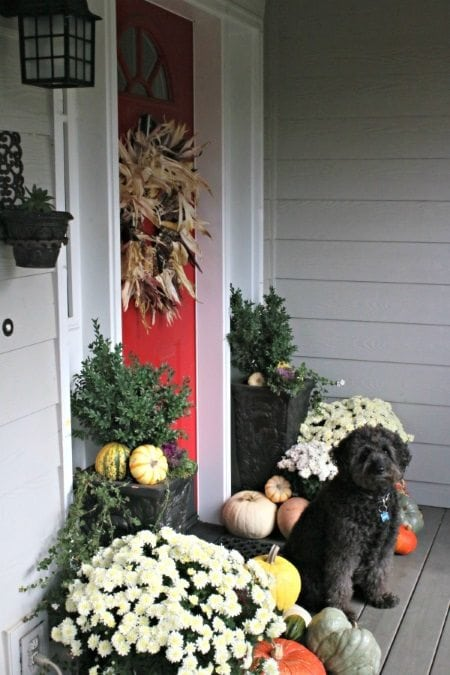 15 Gorgeous Fall Porches including a DIY corn husk wreath.