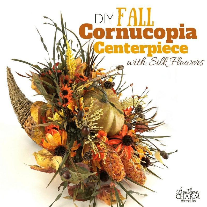 DIY Fall Cornucopia Table Centerpiece