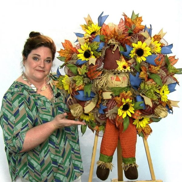 Step by Step how to make a Fall Scarecrow Wreath