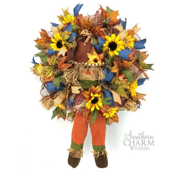 How to make a deco mesh fall Scarecrow Wreath by Southern Charm Wreaths.