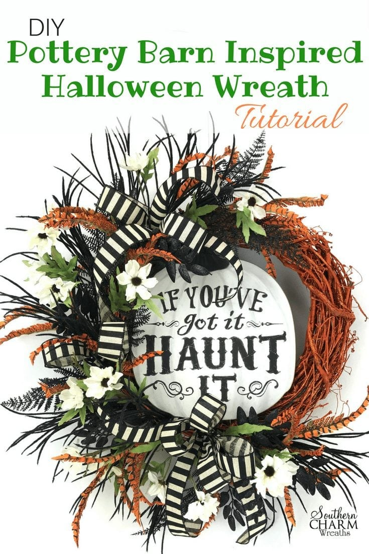 DIY Pottery Barn Inspired Halloween Wreath Tutorial by www.southerncharmwreaths.com