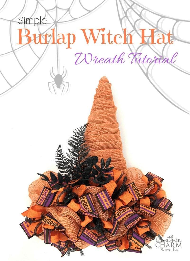 Simple Burlap Witch Wreath Tutorial