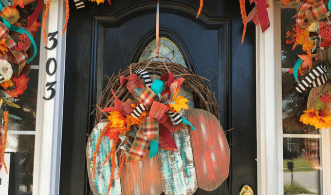 How to Jazz Up a Store Bought Fall Door Hanger Using Flowers