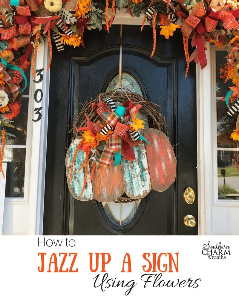 How to jazz up a fall door hanger using silk flowers by Southern Charm Wreaths