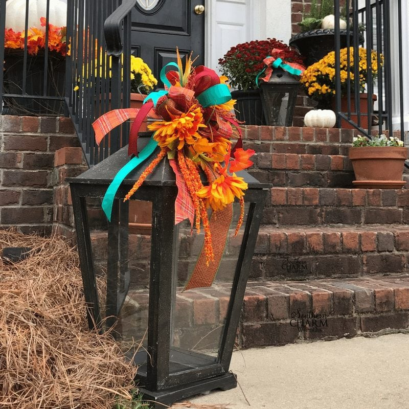 How to make a fall lantern flower arrangement by Southern Charm Wreaths