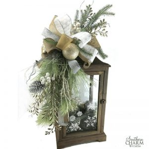 DIY Frosty Winter Lantern Swag by Southern Charm Wreaths