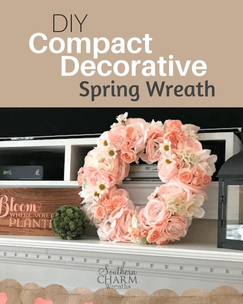 DIY Compact Decorative Spring Wreath Idea by Southern Charm Wreaths