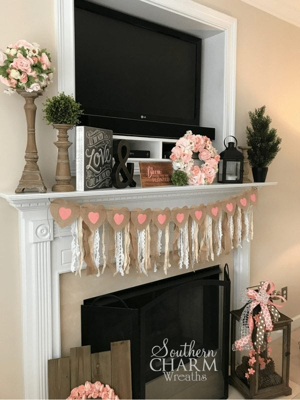 Valentine's Day Mantle Decor Ideas by Southern Charm Wreaths