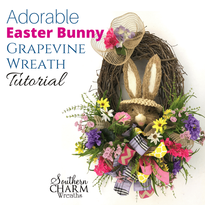 Adorable Easter Bunny Grapevine Wreath Tutorial Diy