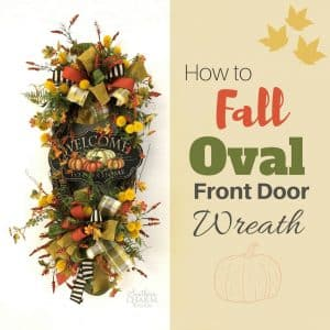 Fall Oval Wreath For Front Door With Welcome Sign Two Bows and Flowers