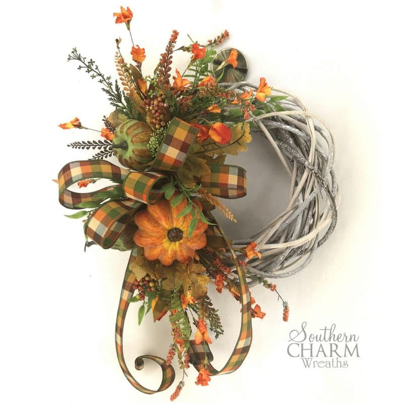 orange colored fall farmhouse wreath for door