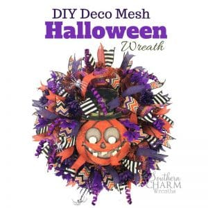 Deco Mesh Wreath with halloween sign