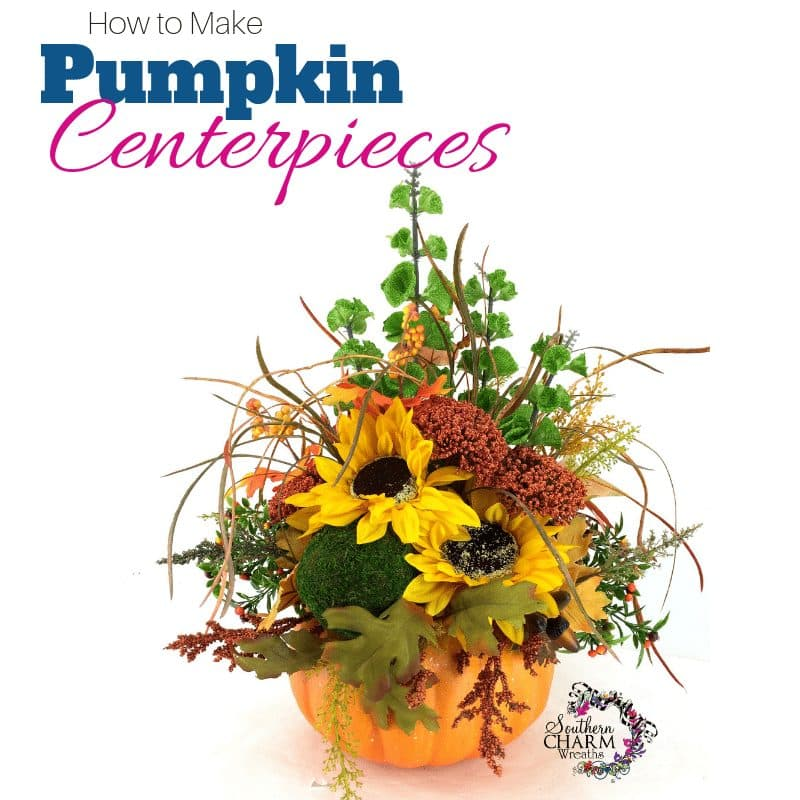 How to make pumpkin centerpieces using lots of fall flowers, pine cones and foam pumpkin by www.southerncharmwreaths.com