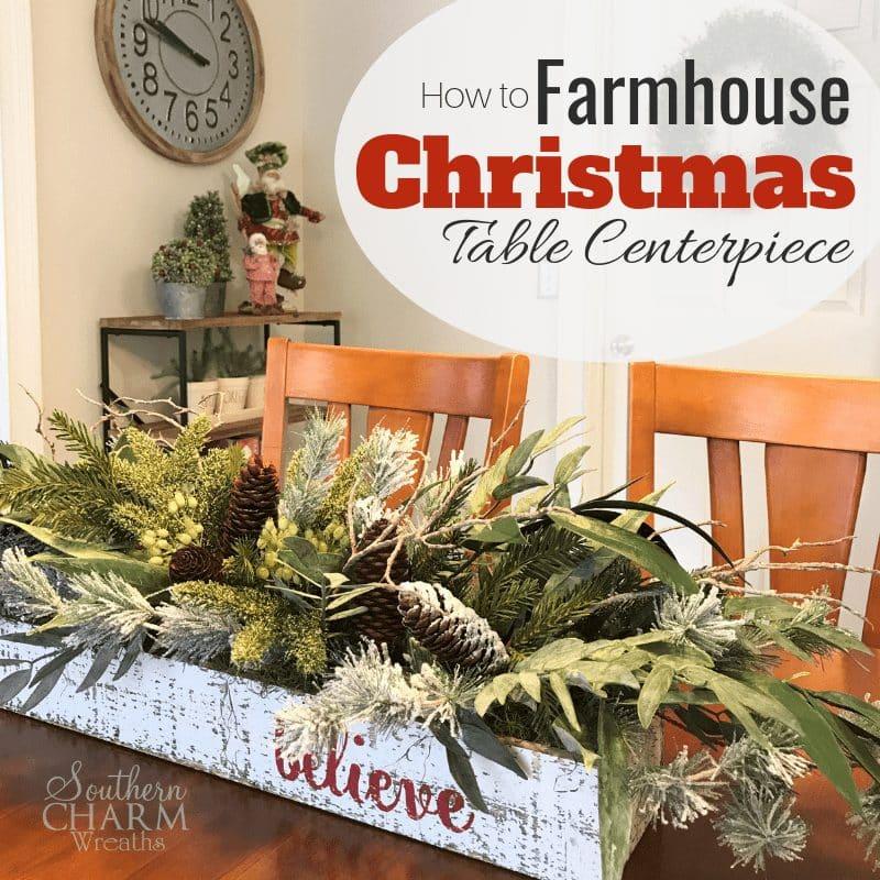 DIY Rustic Farmhouse Christmas Table Centerpiece