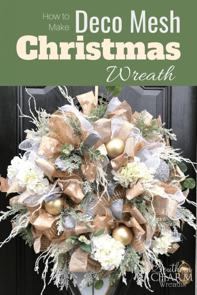How To Elegant Deco Mesh Christmas Wreath In Champagne Gold