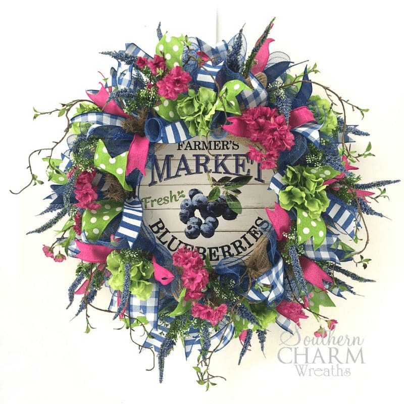 how to make a deco mesh summer blueberry theme wreath