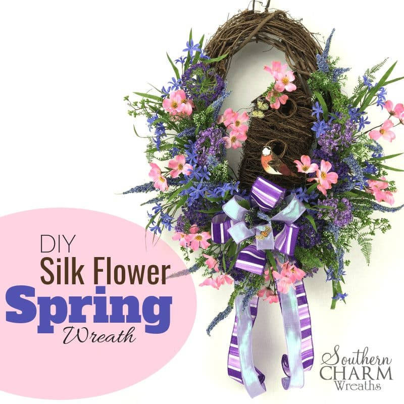 diy-Silk-Flower-spring-birdhouse-wreath