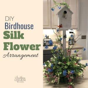 DIY Birdhouse Silk Flower Table Arrangement